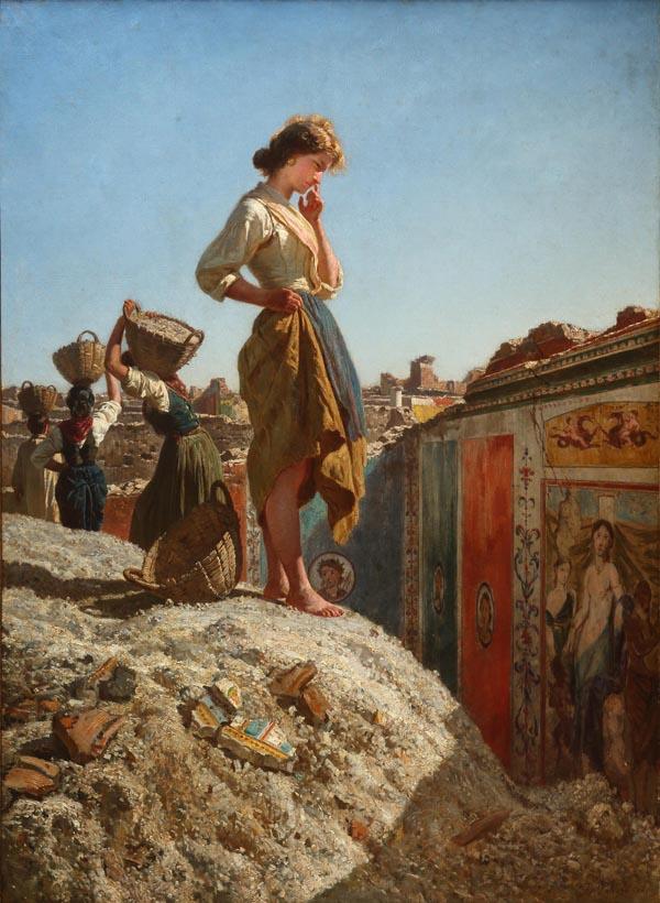 Francesco Paolo Palizzi - Muchacha pensativa en las excavaciones de Pompeya (1865)