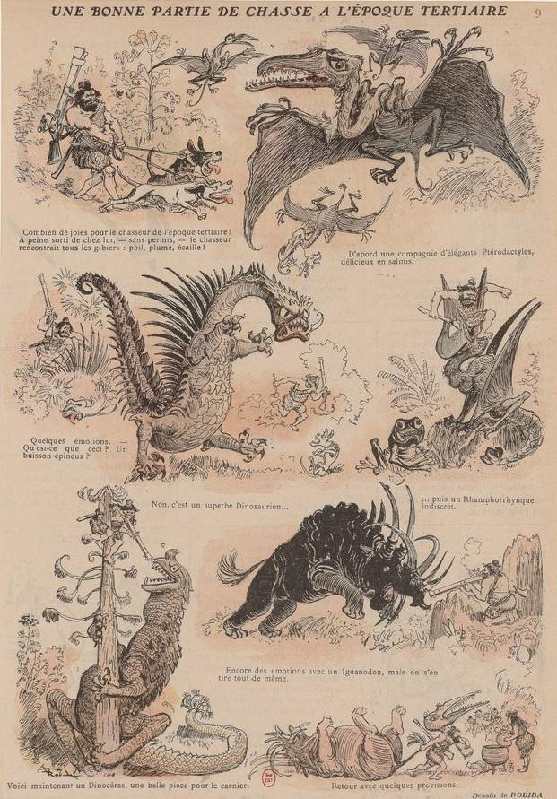 Albert Robida - Une bonne partie de chasse à l'époque tertiaire (finales S. XIX-principios S. XX) - Albert Robida (1848-1926) fue un ilustrador, caricaturista, grabador, periodista y novelista francés. Es famoso por sus obras futuristas