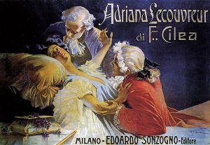 Aleardo Villa – Cartel de la ópera Adriana Lecouvreur (1902)