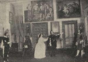 Los actores del Teatro de la Princesa en una función de «La Reina y la comedianta» en 1900 – De izquierda a derecha: Olivares, La Calderona, Felipe IV, Villamediana
