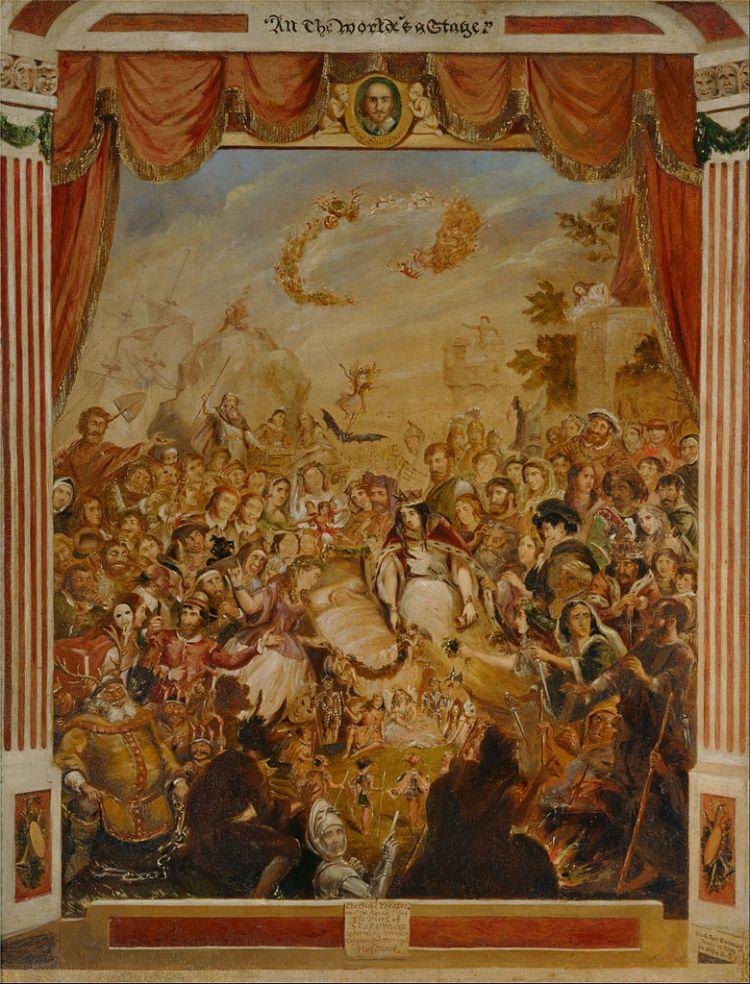George Cruikshank – La Primera Aparición de William Shakespeare en el escenario del Teatro del Globo (1864-1865)