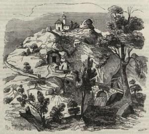 Vista de la cueva donde se retiró y murió la Baltasara, y de la ermita de Fuen-Santa, Murcia (1852)