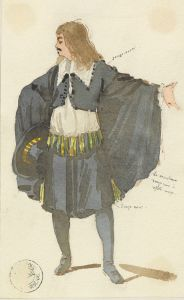 Alexandre Dumas – La Jeunesse de Louis XIV, boceto del traje de Molière por Théophile Thomas (1874)