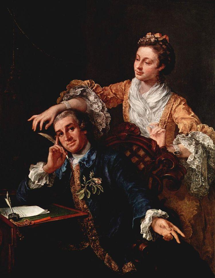 William Hogarth - Retrato de David Garrick y su esposa (1757) - Bailarina alemana emigrada a Londres, Eva Marie Veigel fue el gran amor de David Garrick. Casados en 1749, su unión duró treinta años, hasta la muerte del actor.