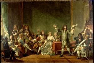 Nicolas André Monsiau – Molière leyendo Tartufo en casa de Ninon de Lenclos (1802)