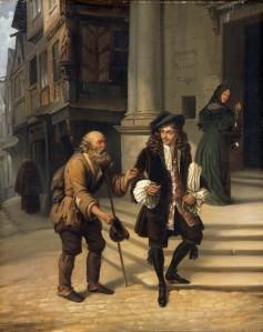 Édouard Henri Théophile Pingret – Molière dando una limosna (1834)