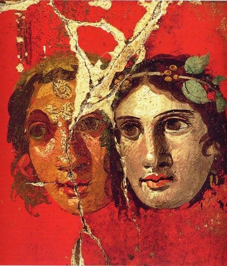 Máscaras romanas de teatro, mosaico encontrado en Pompeya
