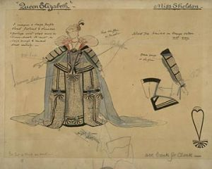 George Bernard Shaw – The Dark Lady of the Sonnets, boceto de traje por Charles Ricketts (1910)