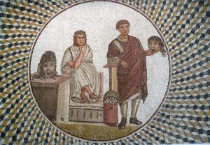 Mosaico romano representando una escena teatral