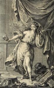 Claude-Joseph Dorat - La Déclamation théâtrale, poème didactique en trois chants, ilustración de Ch. Eisen y grabado de E. de Ghendt (1766)