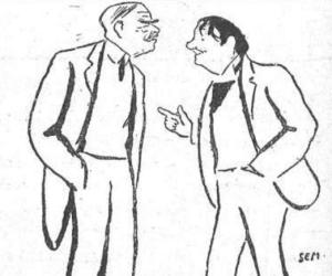 Sem – Caricatura de Octave Mirbeau y el actor Ferrandy durante los ensayos de la comedia «Les Affaires sont les affaires», 1903