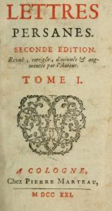 Montesquieu – Lettres persanes (1721)