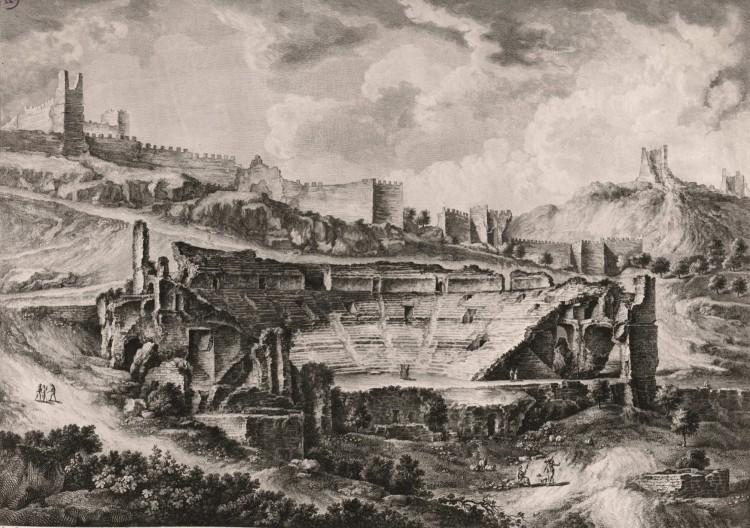 Tomás López Enguídanos, Manuel Camarón y Meliá - Vista general del teatro Saguntino tomada de la izquierda del barranco (1807)