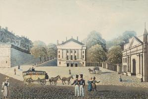Johann Baptist Isenring, David Alois Schmid, Ludwig Burckhardt-Schonauer - Ginebra: la plaza nueva, el teatro y la puerta de Carouge (S. XIX)