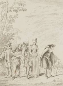 Antoine Watteau – Cinco personajes de comedia (1728)