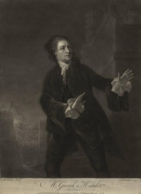 Benjamin Wilson, James Macardell (grabador) - Garrick interpretando el papel de Hamlet (1754)