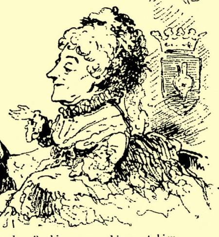 Madame Alexis, la longeva actriz homenajeada en este poema compuesto por Armand Silvestre en 1881, cuando se despidió de su público del Teatro del Vaudeville - Caricatura de Th. Barrière (1875)