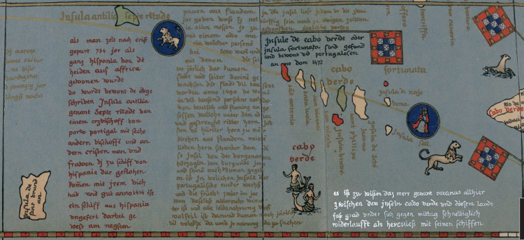 Globo terráqueo de Martin Behaim (detalle, 1492)