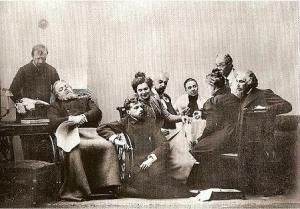 La tropa del Teatro de Arte de Moscú en 1898, en una escena de «La Gaviota»