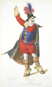 Pierre Corneille – L'Illusion comique, personaje de Matamore ilustrado por Geffroy (1869)