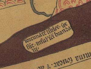 Mapamundi de Hereford, facsímil de 1872 (detalle)