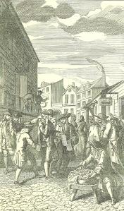 La Feria de San Bartolomé en tiempos de Ben Jonson, ilustración de Lud. Du Guernier (1739)