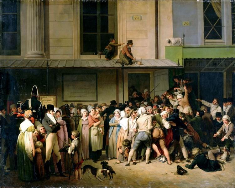 Louis Léopold Boilly - L'entrée du théâtre de l'Ambigu-Comique à une représentation gratis (1819)