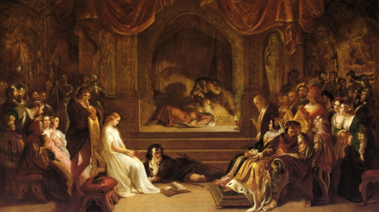 Daniel MacLise (1806-1870) – The Play Scene from Hamlet (1842)