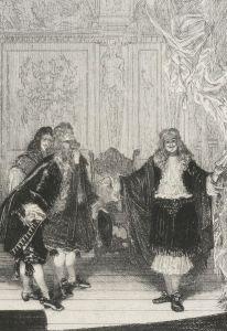 Molière – L'Impromptu de Versailles, ilustración de Adolphe Lalauze (S. XIX)