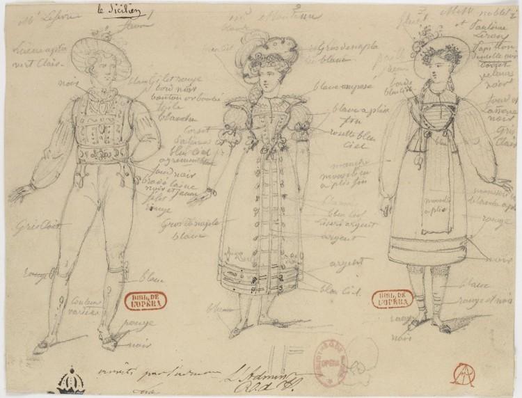 Hippolyte Lecomte - Bocetos de trajes para « Le Sicilien, ou L'Amour peintre », de Molière (1827)