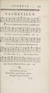 Charles-François Panard – Les Acteurs déplacés (1735), partitura del vodevil
