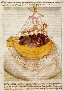 Representación de San Brandán y sus compañeros de viaje en «Manuscriptum translationis germanicae» (ca. 1460)