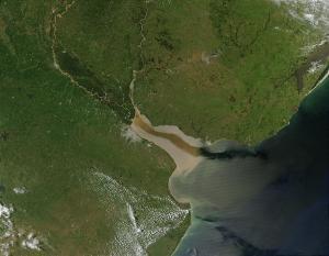 Vista satélite de la Bahía de Samborombón