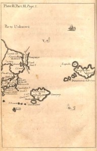 Jonathan Swift - Gulliver's Travels, mapa de las islas visitadas por Gulliver, por Herman Moll (1726)