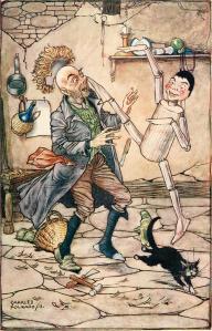 Carlo Collodi – Pinocchio, ilustración de Charles Folkard (1911)