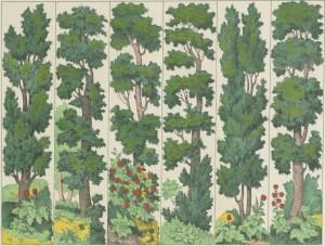 Bambalinas de teatro de marionetas, el bosque (1854)