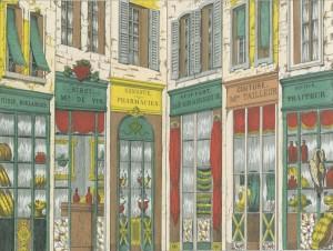 Bambalinas de teatro de marionetas, la plaza del pueblo (1854)