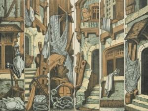 Bambalinas de teatro de marionetas, el puerto (1857)