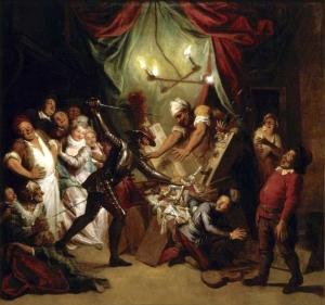 Charles-Antoine Coypel – Don Quichotte prenant des marionnettes pour des Maures, croit, en les combattant, secourir deux amants fugitifs (1746)