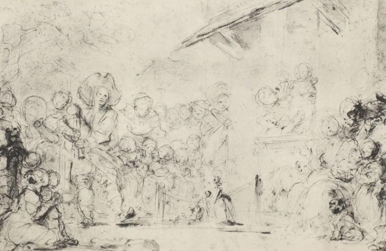 Jean-Honoré Fragonard - Le Montreur de marionnettes jouant de la musette (S. XVIII)