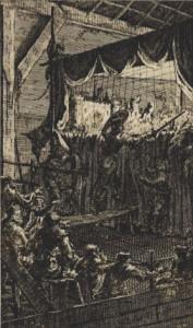 Jacobus Harrejwin - Don Quijote acuchilla a los títeres del retablo de Maese Pedro (1706)