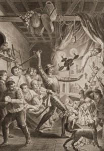 Francisco Muntaner - Don Quijote acuchilla a los títeres del retablo de Maese Pedro (1781)