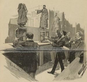 Lectura de los papeles para «La Leyenda de Santa Cecilia» en el Petit Théâtre de marionnettes de Henri Signoret