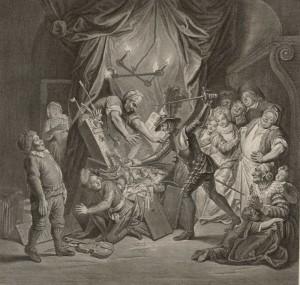 François de Poilly - Don Quijote acuchilla a los títeres del retablo de Maese Pedro (1725)