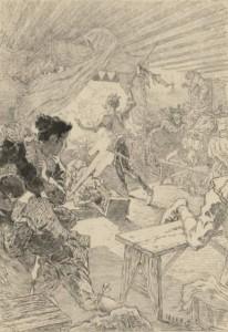 Daniel Vierge - Don Quijote acuchilla a los títeres del retablo de Maese Pedro (1907)