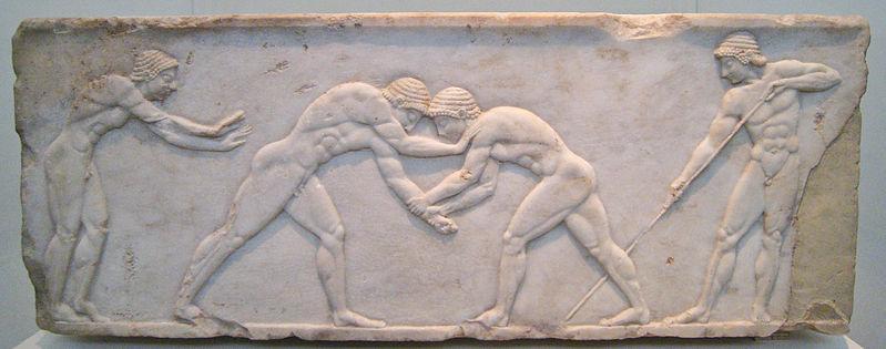Bajo relieve funerario con luchadores (Grecia, S. VI a.C.)