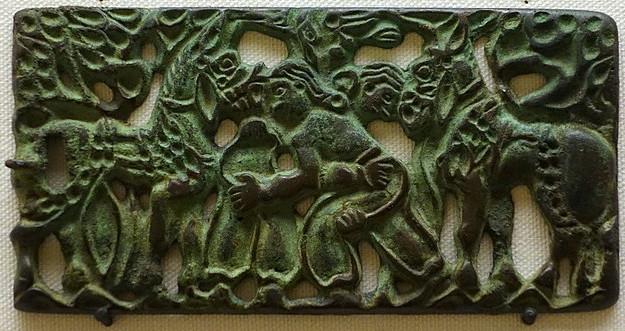Hebilla de cinturón (bronce, China, S. II a.C.)