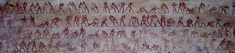 Fresco con luchadores (Tumba de Beni Hassan, Egipto, S. XX a.C.)