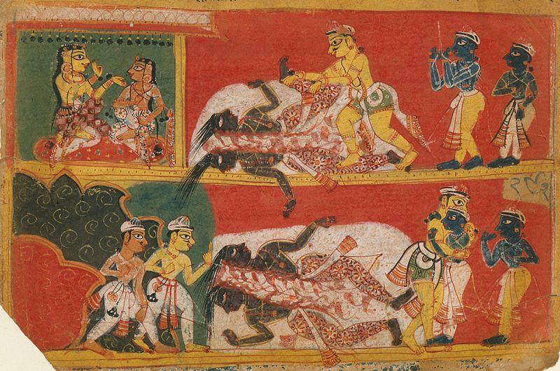 La lucha entre Bhima y Jarasandha (Manuscrito del siglo XVI)