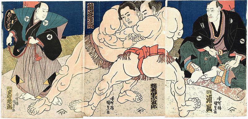 Utagawa Kunisada – Luchadores de sumo (184?)